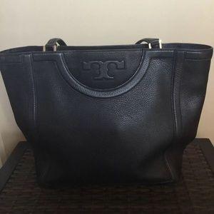 Tory Burch Black Leather Serif Tote Bag